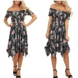 Black Off the Shoulder Scarf Hem Floral Midi Dress